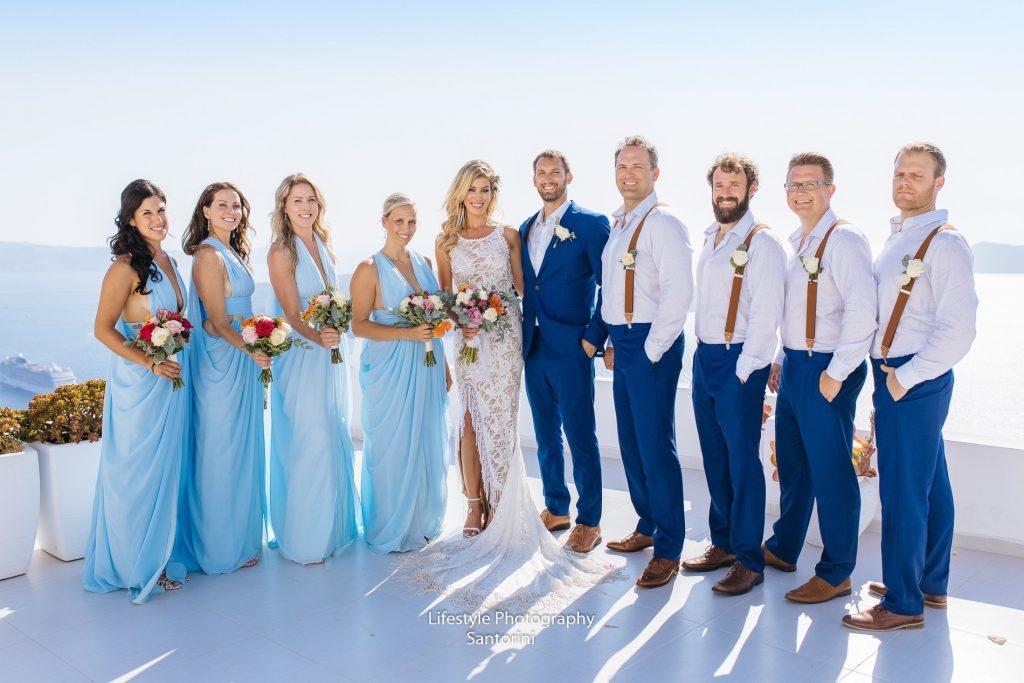 Bride and Groom in Santorini wedding ceremonial