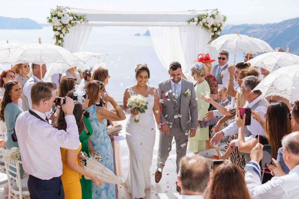 santorini weddings beach view